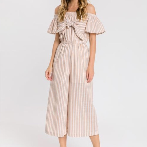 English Factory Dresses & Skirts - English Factory Off The Shoulder Jumpsuit